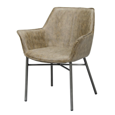 wonenmetlef Dining room chair Lennon taupe brown PU leather steel 64x60x81cm