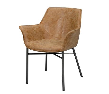 wonenmetlef Chaise de salle à manger Lennon en cuir de vachette brun PU cuir acier 64x60x81cm