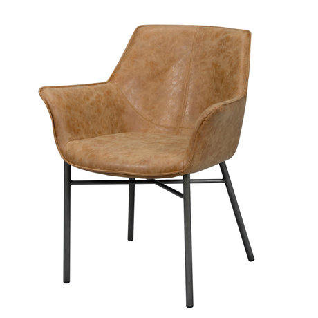 wonenmetlef Dining room chair Lennon cowhide brown PU leather steel 64x60x81cm