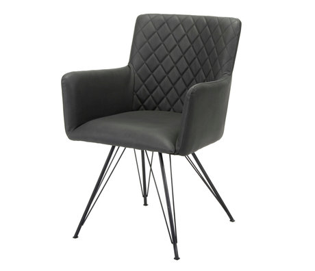 wonenmetlef Dining room chair Alexis black PU leather 61x58x84cm