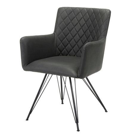 wonenmetlef Chaise de salle à manger Alexis cuir PU noir 61x58x84cm