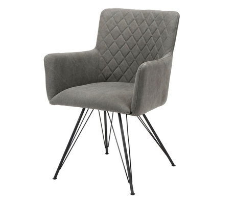 wonenmetlef Dining room chair Alexis anthracite gray textile 61x58x84cm