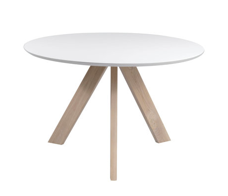 wonenmetlef Table à manger Bliss blanc bois brun naturel Ø120x76cm