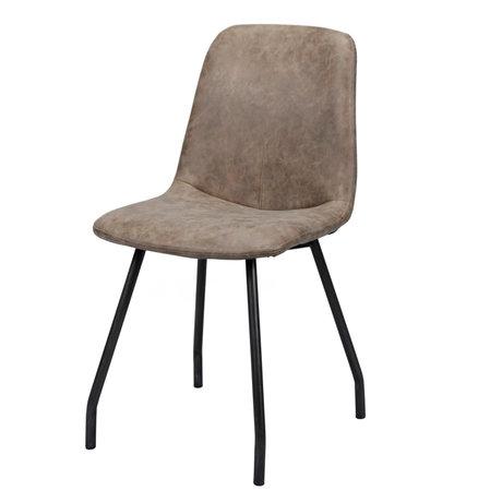 wonenmetlef Chaise de salle à manger Fem cire brun foncé PU cuir acier 48x47x87cm