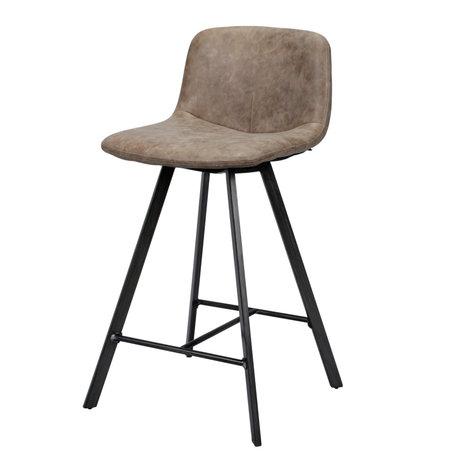 wonenmetlef Bar stool Fender dark brown wax PU leather steel 45x50x90cm