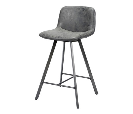 wonenmetlef Barstool Fender black wax PU leather steel 45x50x90cm