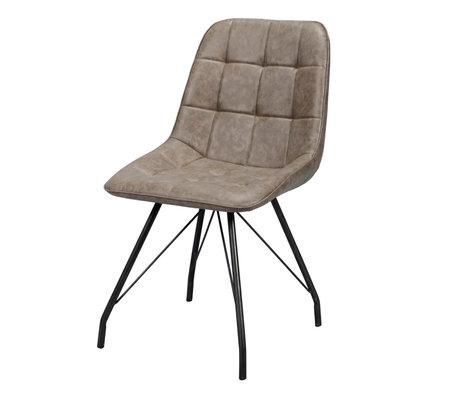Wonenmetlef Chaise de salle à manger Lewis en cire marron foncé PU en cuir PU 50x60x89cm