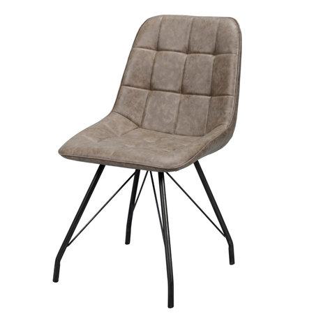wonenmetlef Dining room chair Lewis dark brown wax PU leather steel 50x60x89cm