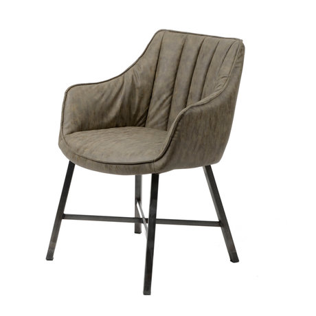 wonenmetlef Chaise de salle à manger Rocco taupe, cire marron, cuir PU, acier inoxydable 60x62x84cm