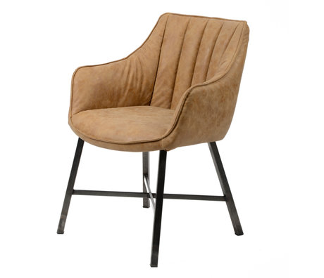 wonenmetlef Chaise de salle à manger Rocco en peau de vache brune cire PU cuir inox 60x62x84cm