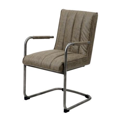 Wonenmetlef Chaise de salle à manger Bowie taupe marron ciré PU cuir inox 54x61x88cm
