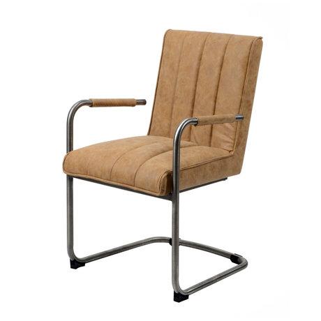 wonenmetlef Chaise de salle à manger Bowie en peau de vache brune et cuir PU avec acier inoxydable 54x61x88cm