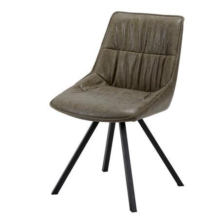 wonenmetlef Chaise de salle à manger Daan taupe marron ciré PU cuir acier 50x58x82cm