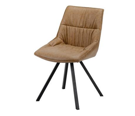 wonenmetlef Dining room chair Daan cowhide brown wax PU leather steel 50x58x82cm