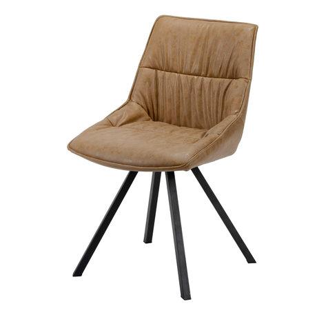 wonenmetlef Chaise de salle à manger Daan cuir de vachette cire brune PU cuir acier 50x58x82cm