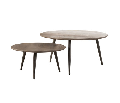 wonenmetlef Table basse Ivy greywash brown MDF acier set de 2