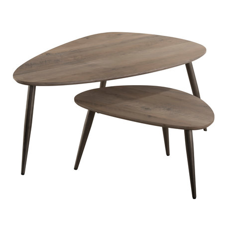 wonenmetlef Coffee table Indy greywash brown MDF steel S set of 2