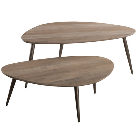 wonenmetlef Table basse Indy greywash brun MDF acier M ensemble de 2