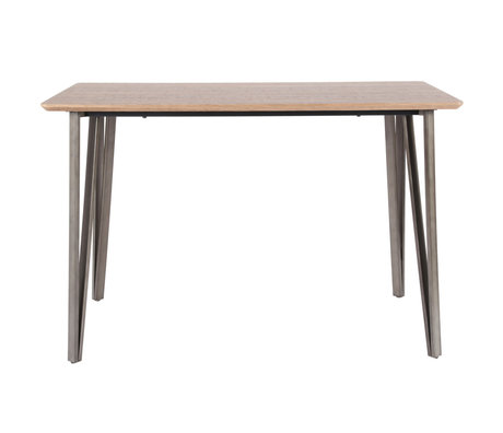 wonenmetlef Bar table Kris oak brown MDF steel 140x70x92cm