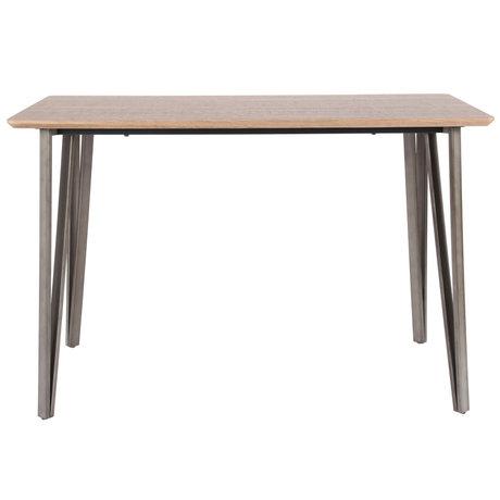 wonenmetlef Table de bar Kris chêne brun MDF acier 140x70x92cm
