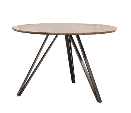 wonenmetlef Dining table Kris oak brown MDF steel Ø120x76cm