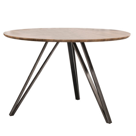 Wonenmetlef Table à manger Kris chêne brun MDF acier Ø120x76cm