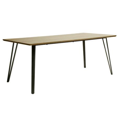 wonenmetlef Table à manger Kris chêne brun MDF acier 190x90x76cm