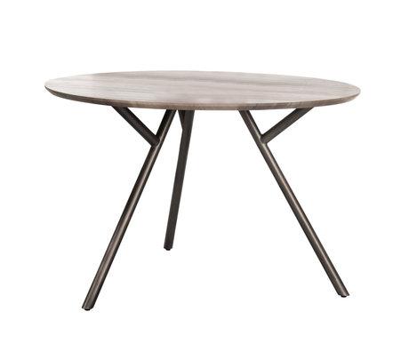 Wonenmetlef Table à manger Kris gris MDF acier Ø120x76cm