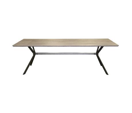wonenmetlef Dining table Juno greywash brown MDF steel 200x95x76.5cm