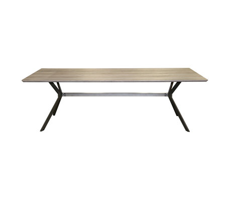 wonenmetlef Eettafel Juno greywash bruin MDF staal 200x95x76,5cm