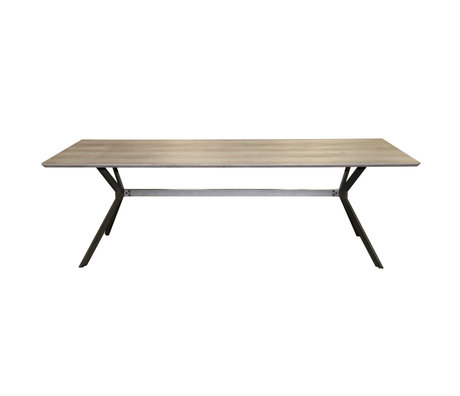 wonenmetlef Dining table Lux oak greywash MDF steel 240x100x76cm