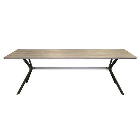 wonenmetlef Table à manger Lux chêne greywash MDF acier 240x100x76cm