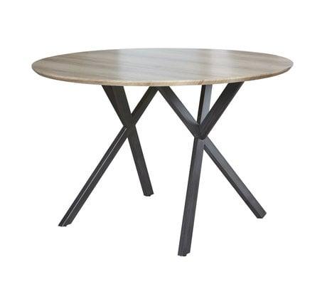 wonenmetlef Table de repas Mikki antiquewash brun MDF acier Ø120x76cm