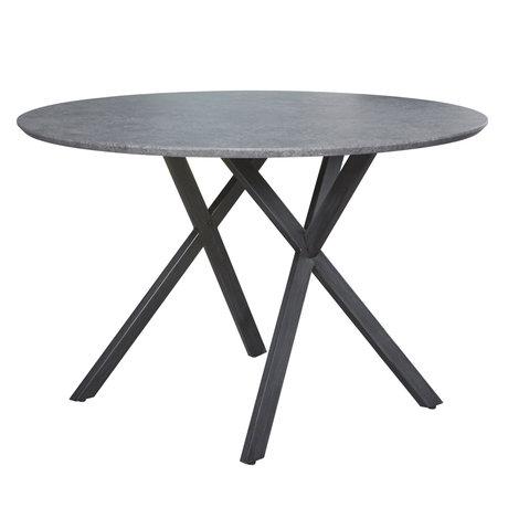 Wonenmetlef Eettafel Mikki betonlook grijs MDF staal Ø120x76cm