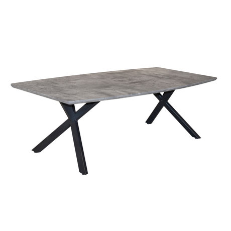 wonenmetlef Coffee table Mikki concrete look gray MDF steel 120x60x40cm