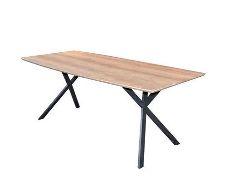 Wonenmetlef Table à manger Mikki antiquewash brun MDF acier 160x90x76cm