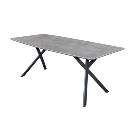 wonenmetlef Dining table Mikki concrete look gray MDF steel 190x90x76cm
