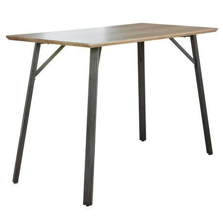 wonenmetlef Bartafel Mikkie antiquewash bruin MDF staal 140x70x92cm