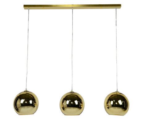 wonenmetlef Suspension Phyllon 3 lumières verre doré 110x25x150cm