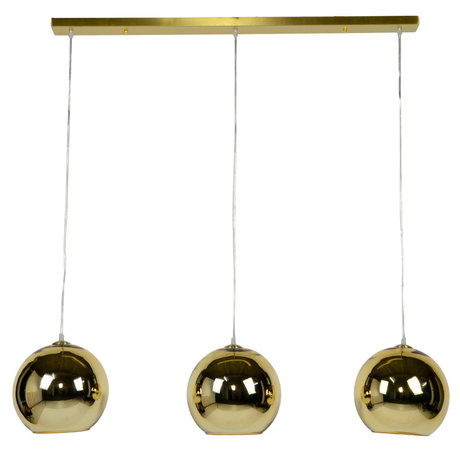 wonenmetlef Hanging lamp Phyllon 3-light gold glass 110x25x150cm