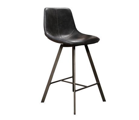 wonenmetlef Bar stool Jean black PU leather metal 47x51x94cm