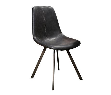 wonenmetlef Chaise de salle à manger Jean cuir PU noir métal 47x58x87cm