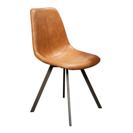 wonenmetlef Chaise de salle à manger Jean cuir de vachette marron noir PU cuir métal 47x58x87cm