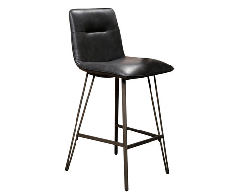 wonenmetlef Barstool Ally black PU leather metal 44x51x99cm