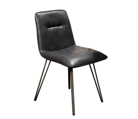 wonenmetlef Dining room chair Ally black PU leather metal 48x55x81cm