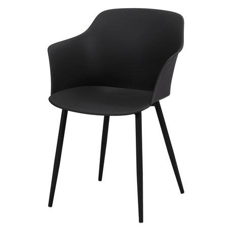 Wonenmetlef Chaise de salle à manger Elena en plastique noir acier 59x51x82cm