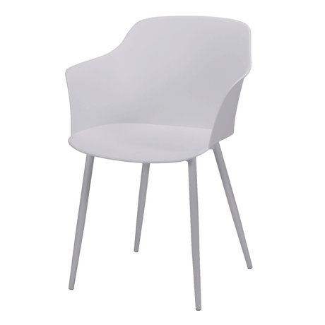 wonenmetlef Chaise de salle à manger Elena en plastique blanc, acier 59x51x82cm