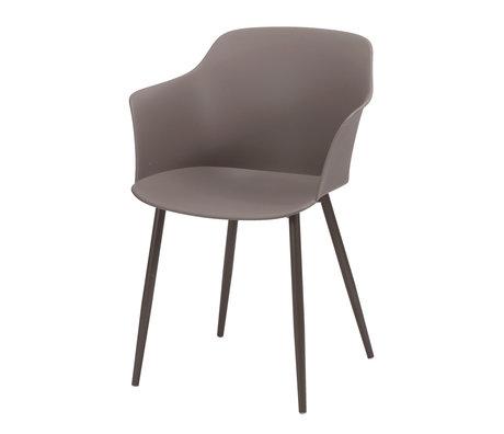 Wonenmetlef Chaise de salle à manger Elena taupe en plastique marron acier 59x51x82cm