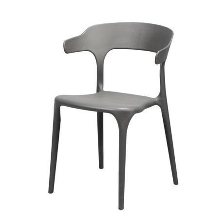 wonenmetlef Dining room chair Feby (garden) gray plastic 52x52.5x77cm