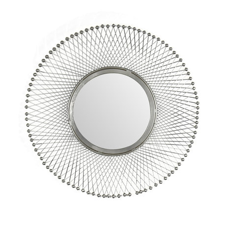 wonenmetlef Spiegel Jara antiek zilver glas ijzer Ø50cm